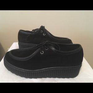 """Shelleys of London """"Kyra"""" Blk Suede Creeper Shoes"""